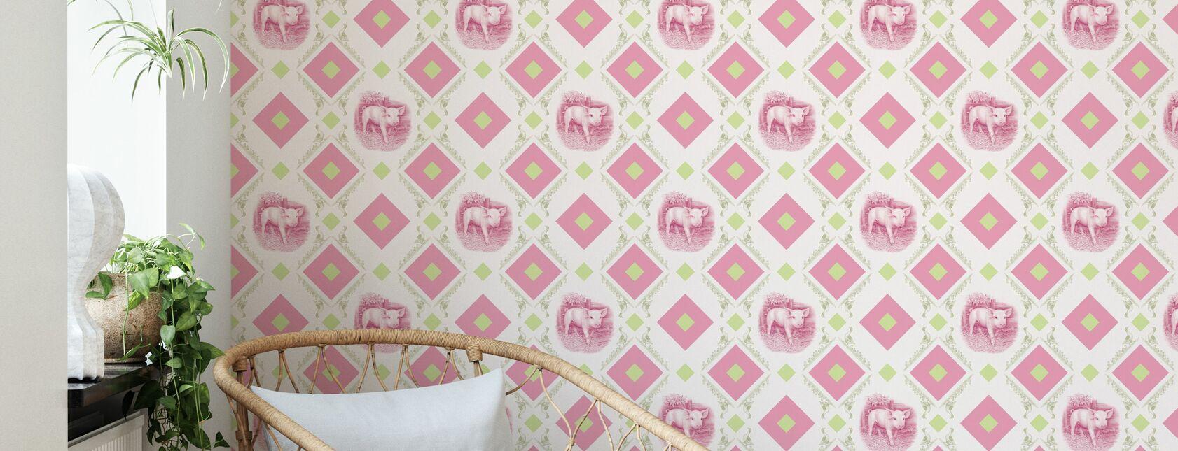 Pigglet - Gooseframe - Pinkki Vihreä - Tapetti - Olohuone
