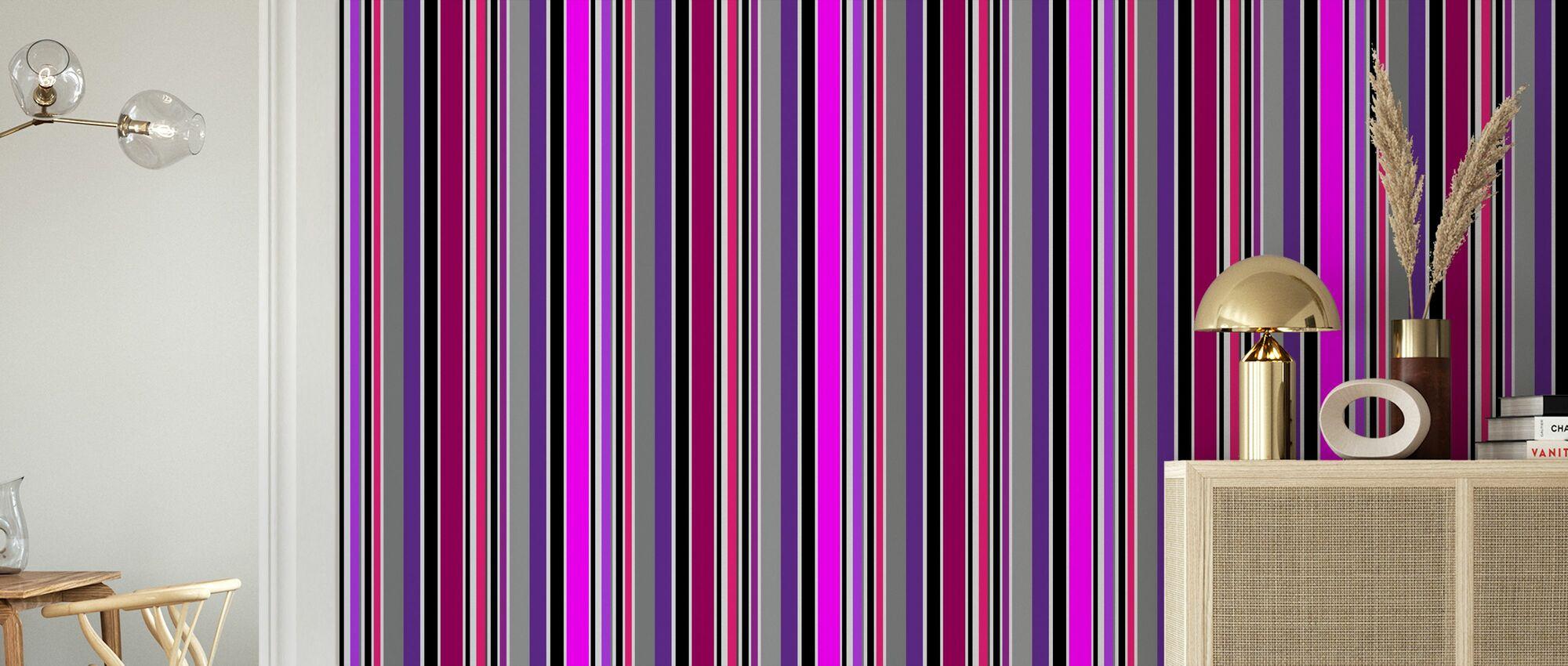 Standing Stripes - Purple - Wallpaper - Living Room