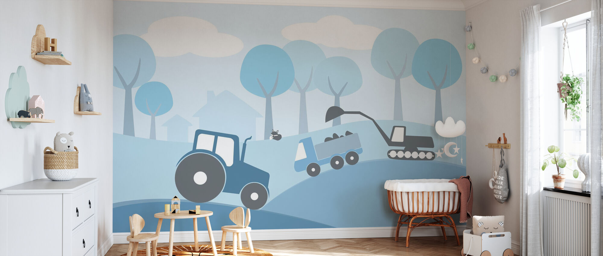 Countryside - Blue - Wallpaper - Nursery
