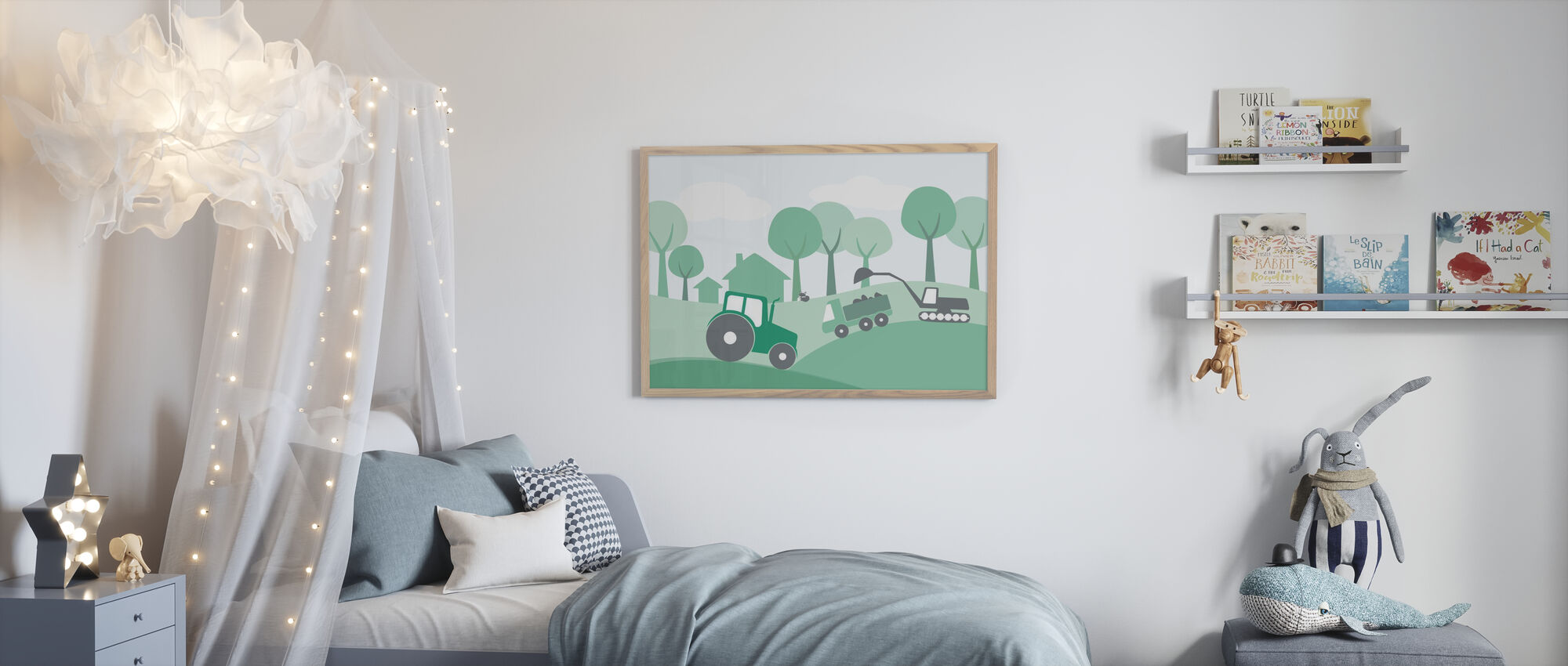 Countryside - Green - Framed print - Kids Room