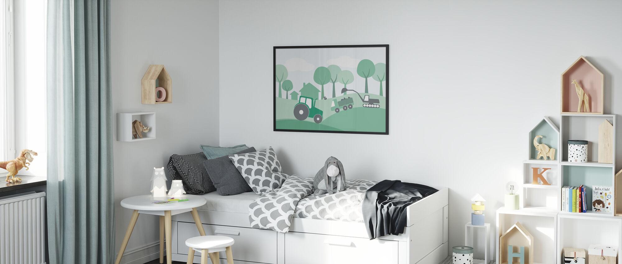 Platteland - Groen - Ingelijste print - Kinderkamer