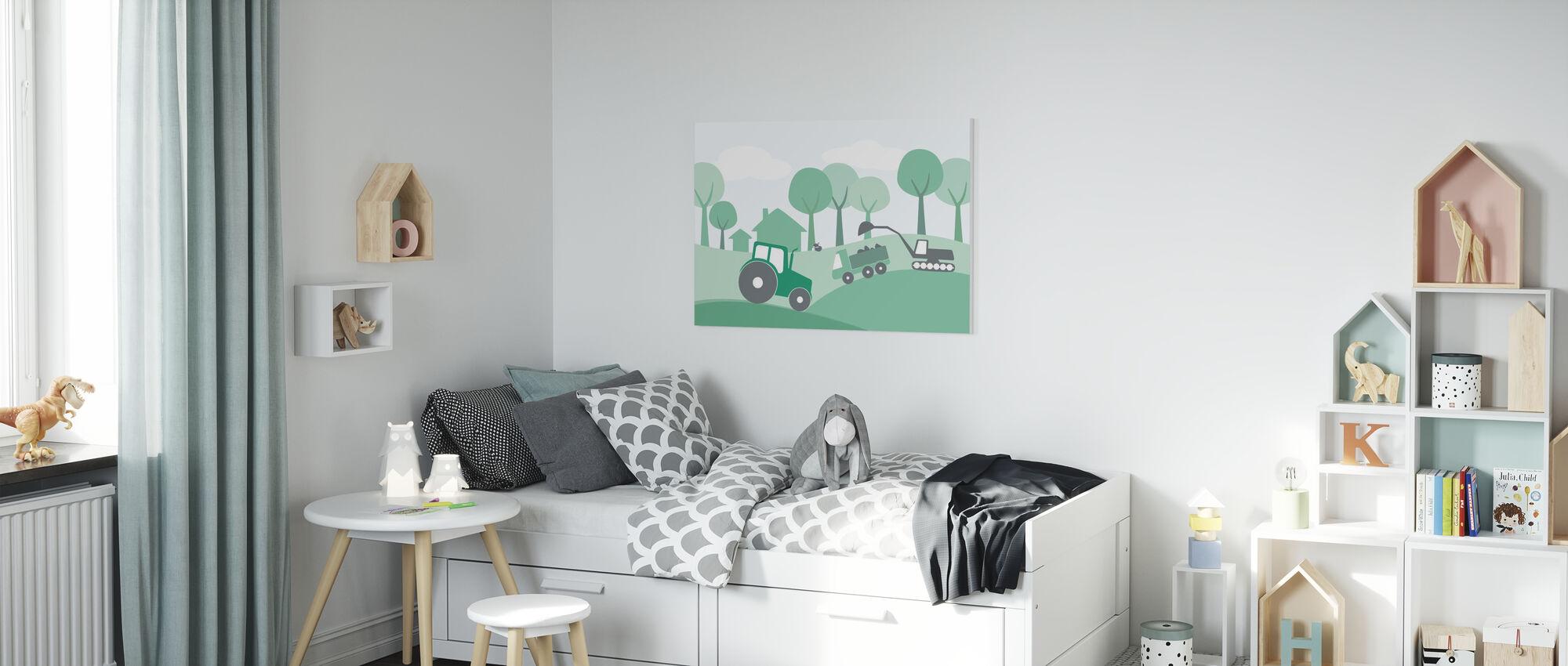 Platteland - Groen - Canvas print - Kinderkamer