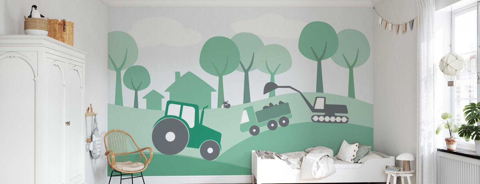 Campagne - Vert - Papier peint - Chambre des enfants