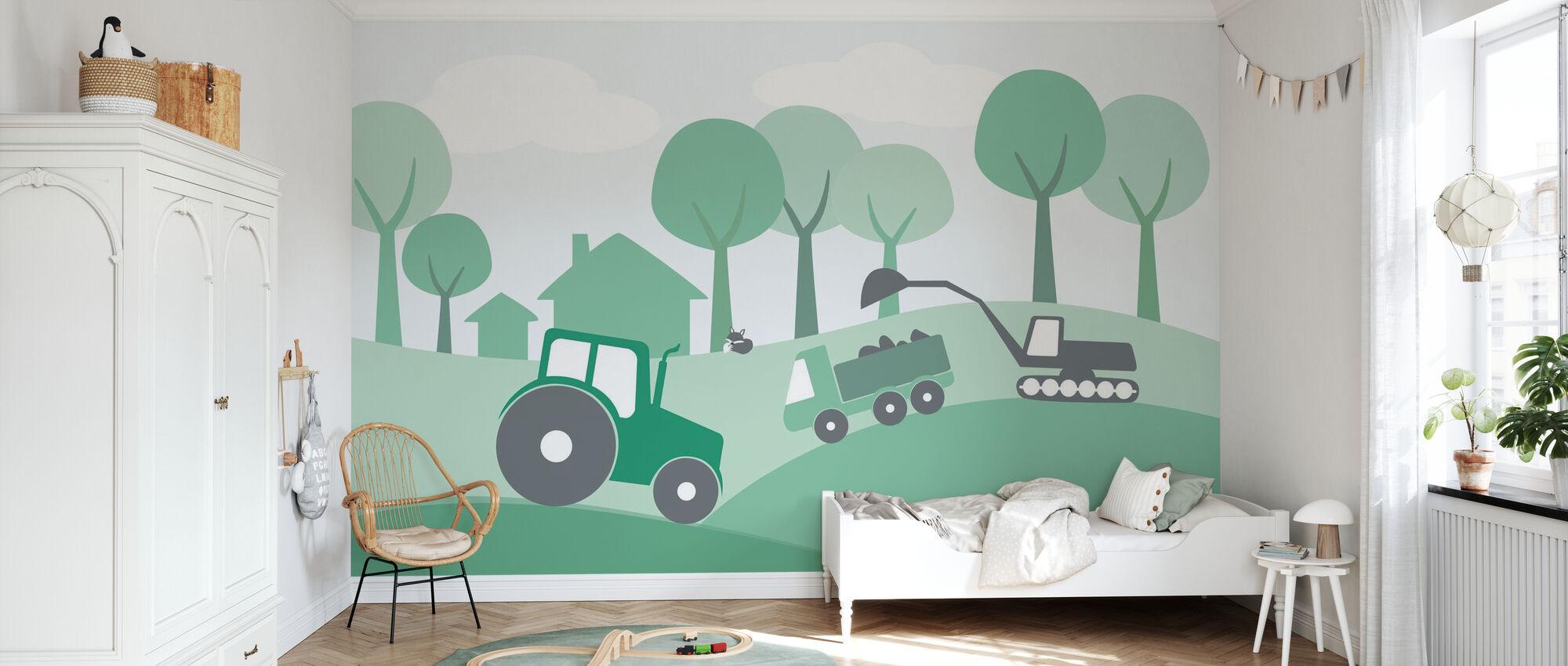 Landschaft - Grün - Tapete - Kinderzimmer