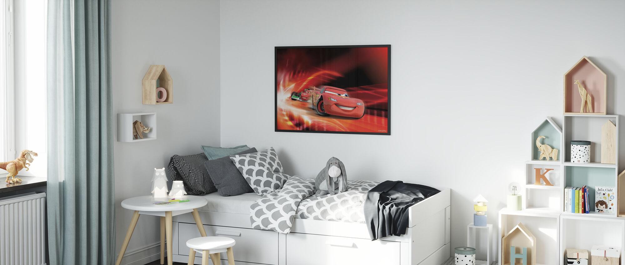 Biler - Rød rase - Innrammet bilde - Barnerom