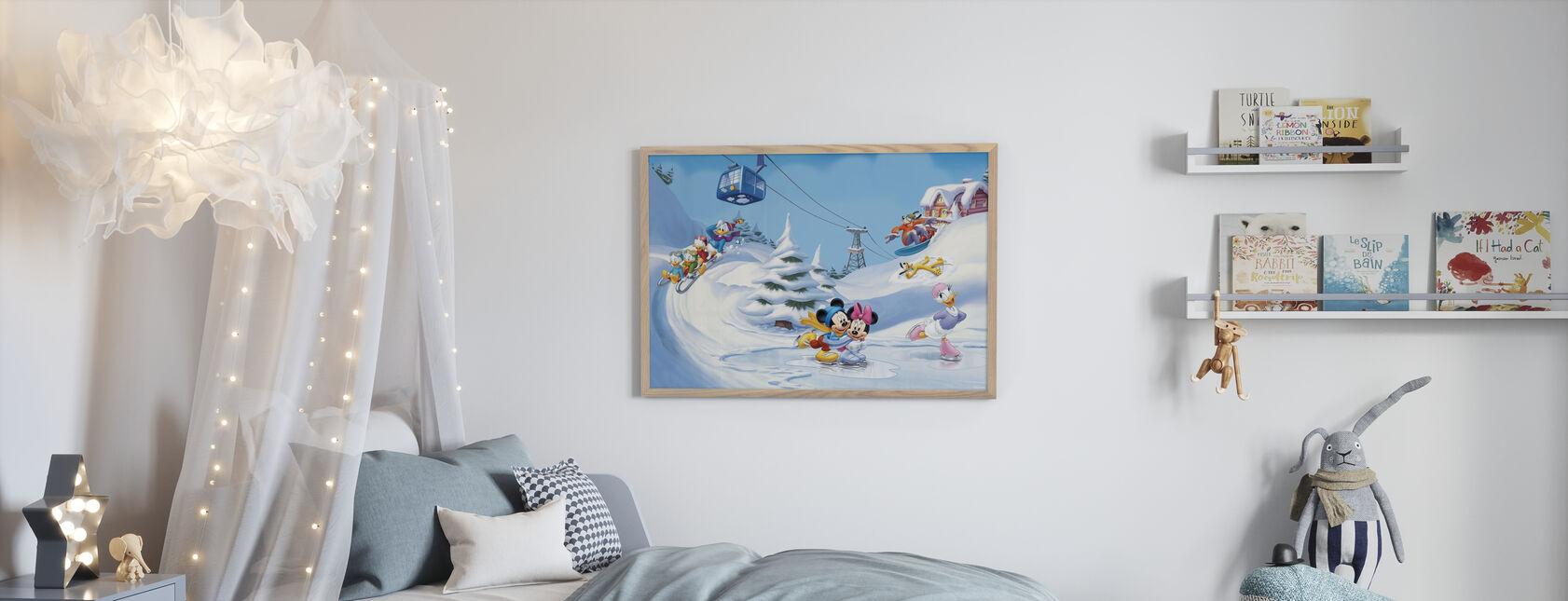 Mikke og venner - Vintermoro - Innrammet bilde - Barnerom