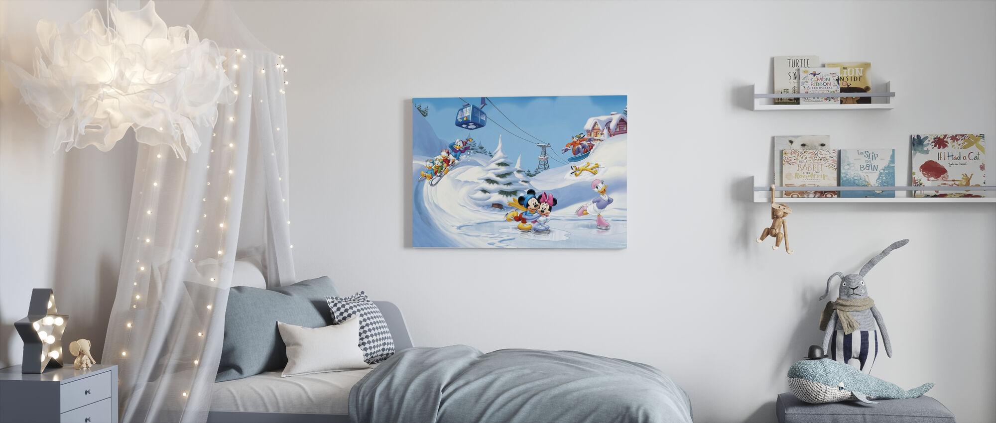 Mickey og venner - Vinter Fun - Billede på lærred - Børneværelse