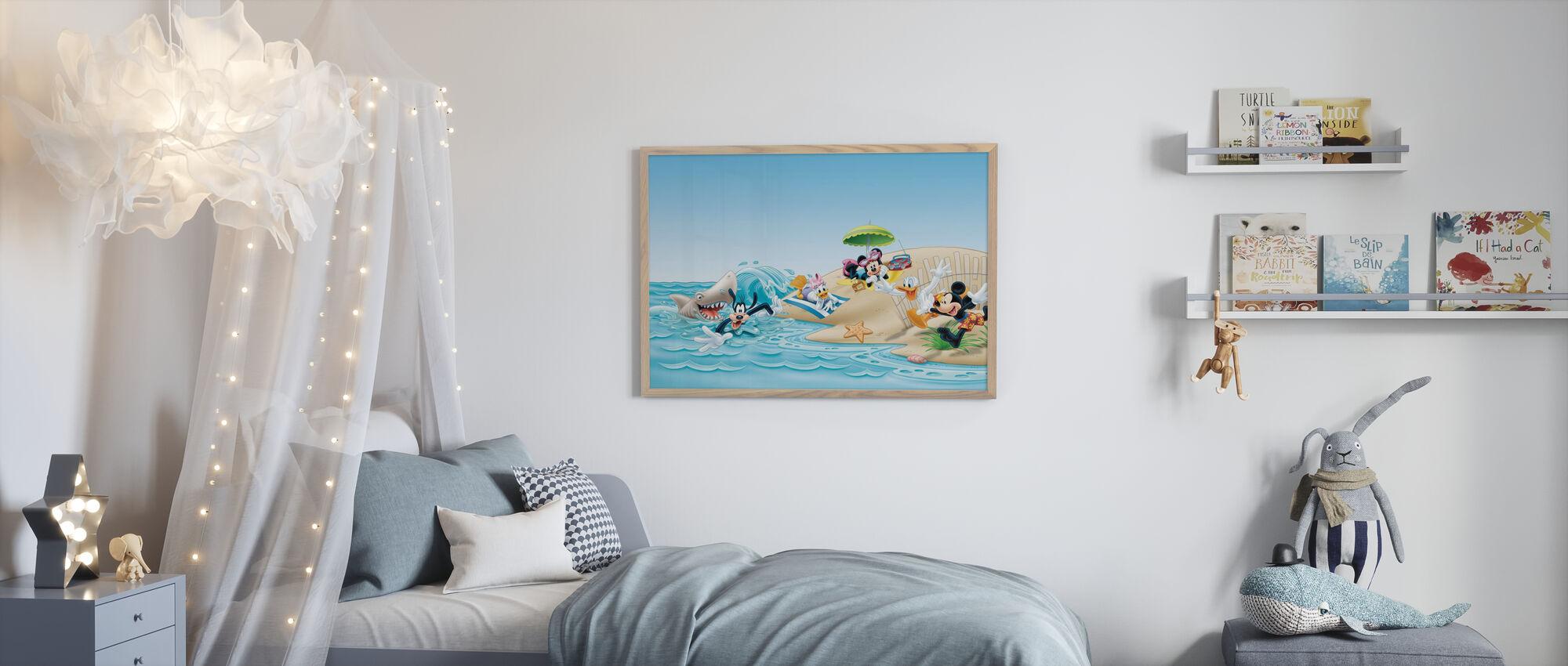 Mikke og venner - strand - Innrammet bilde - Barnerom