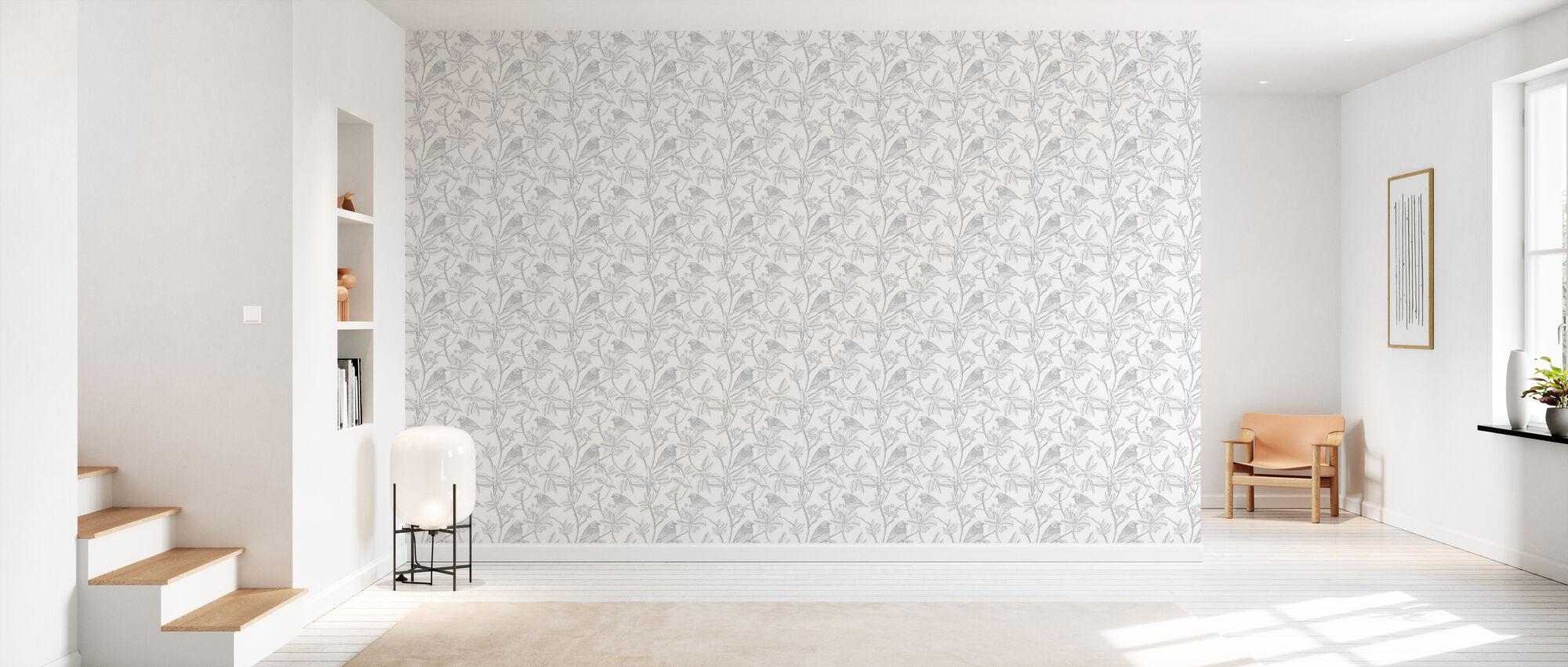 Finch - White - Wallpaper - Hallway