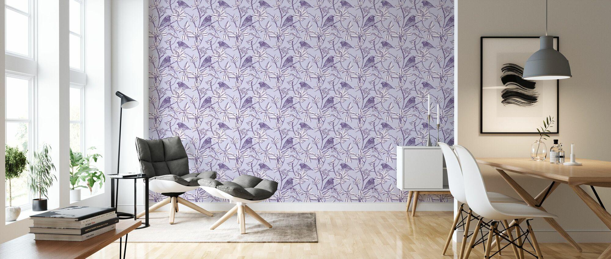 Finch - Purple - Wallpaper - Living Room