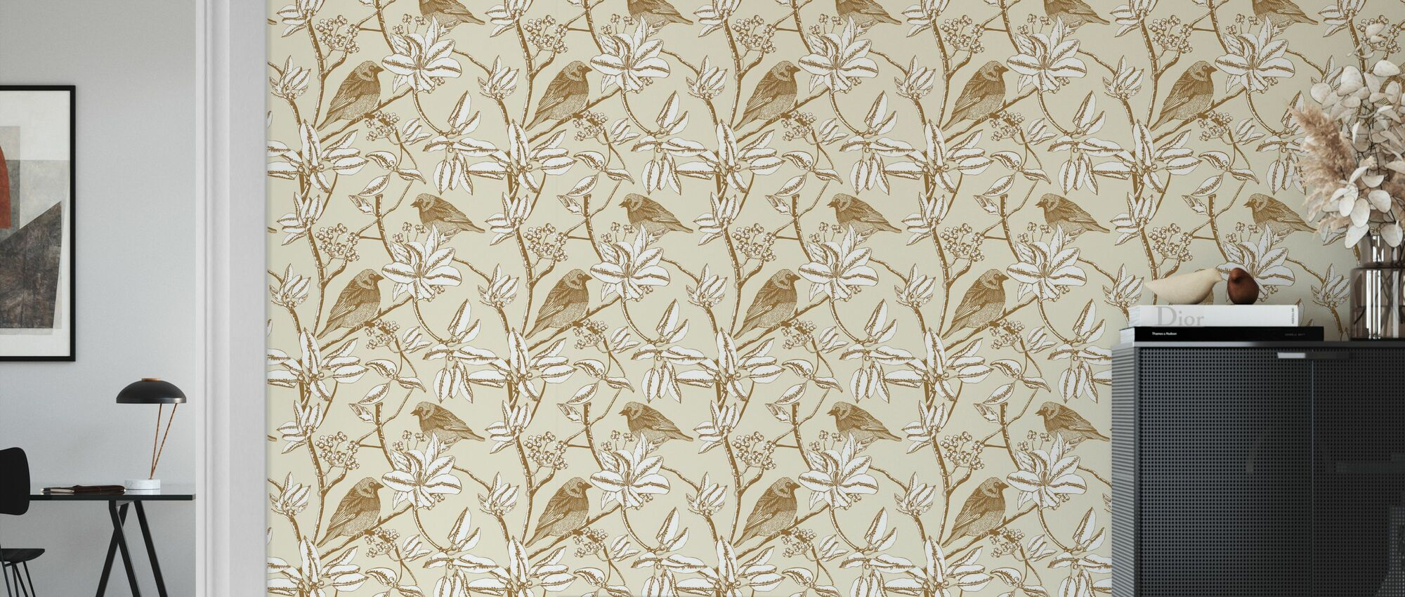 Finch - Beige - Wallpaper - Living Room