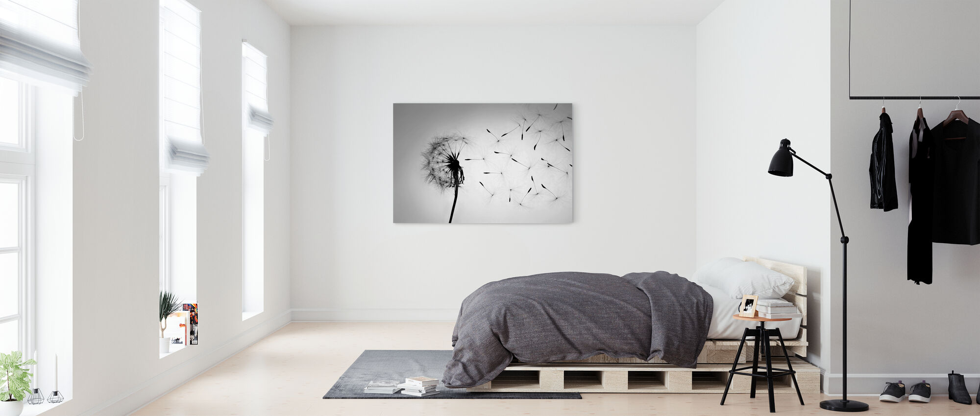 Dandelion - Black White - Canvas print - Bedroom