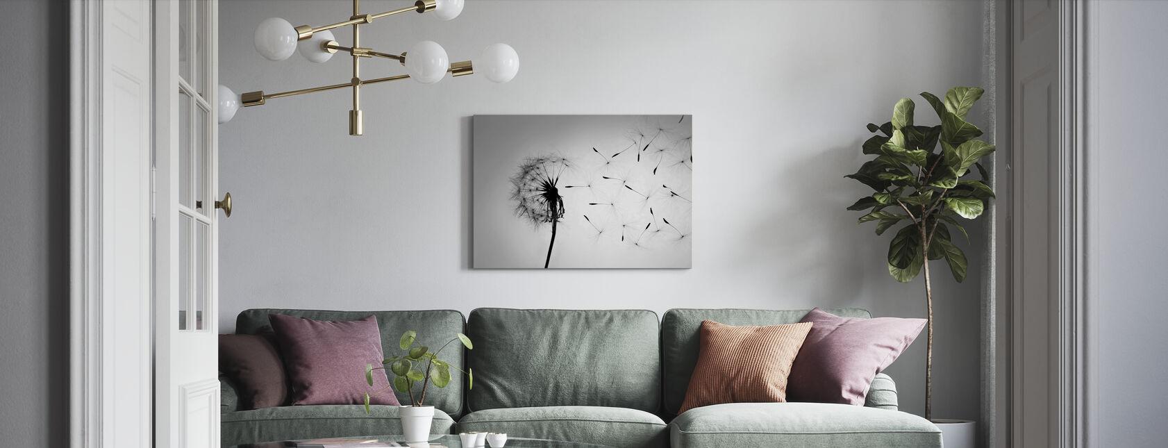 Dandelion - Black White - Canvas print - Living Room