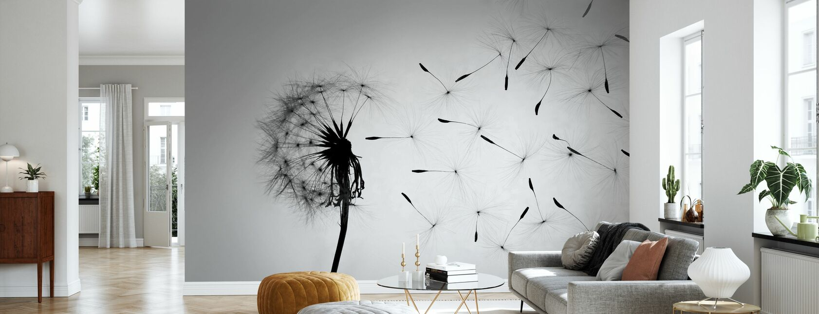 Dandelion - Black White - Wallpaper - Living Room