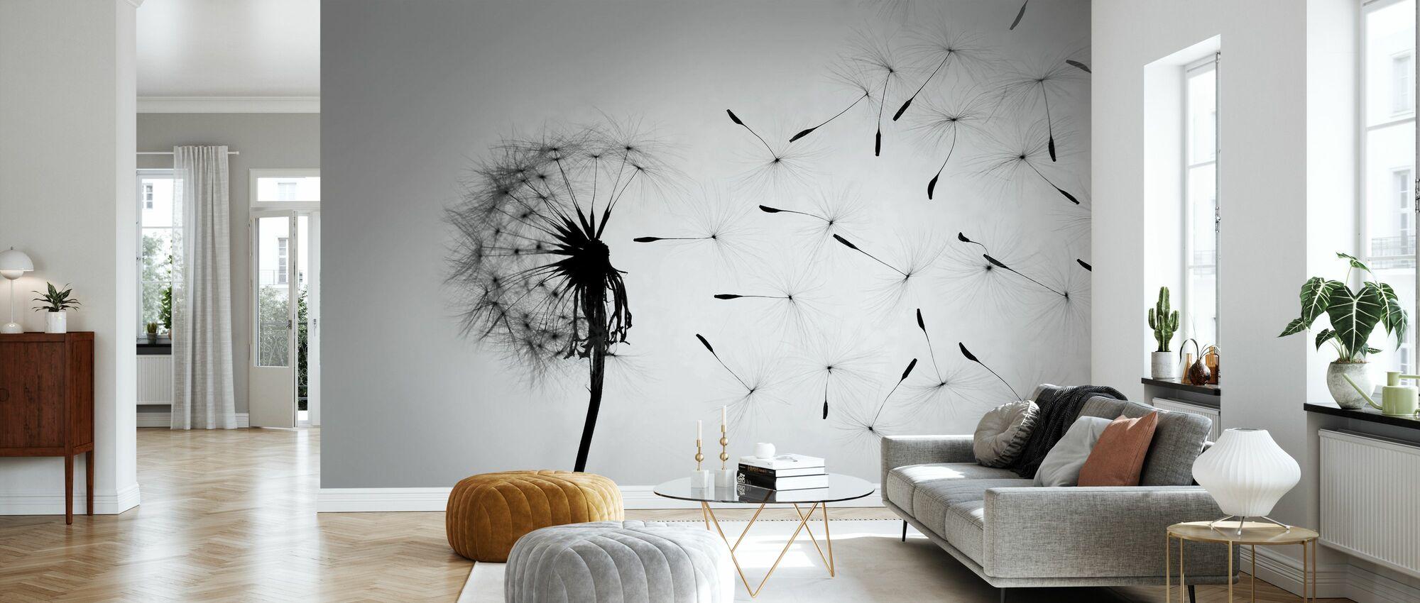 Dandelion - Black White - Wallpaper - Living Room
