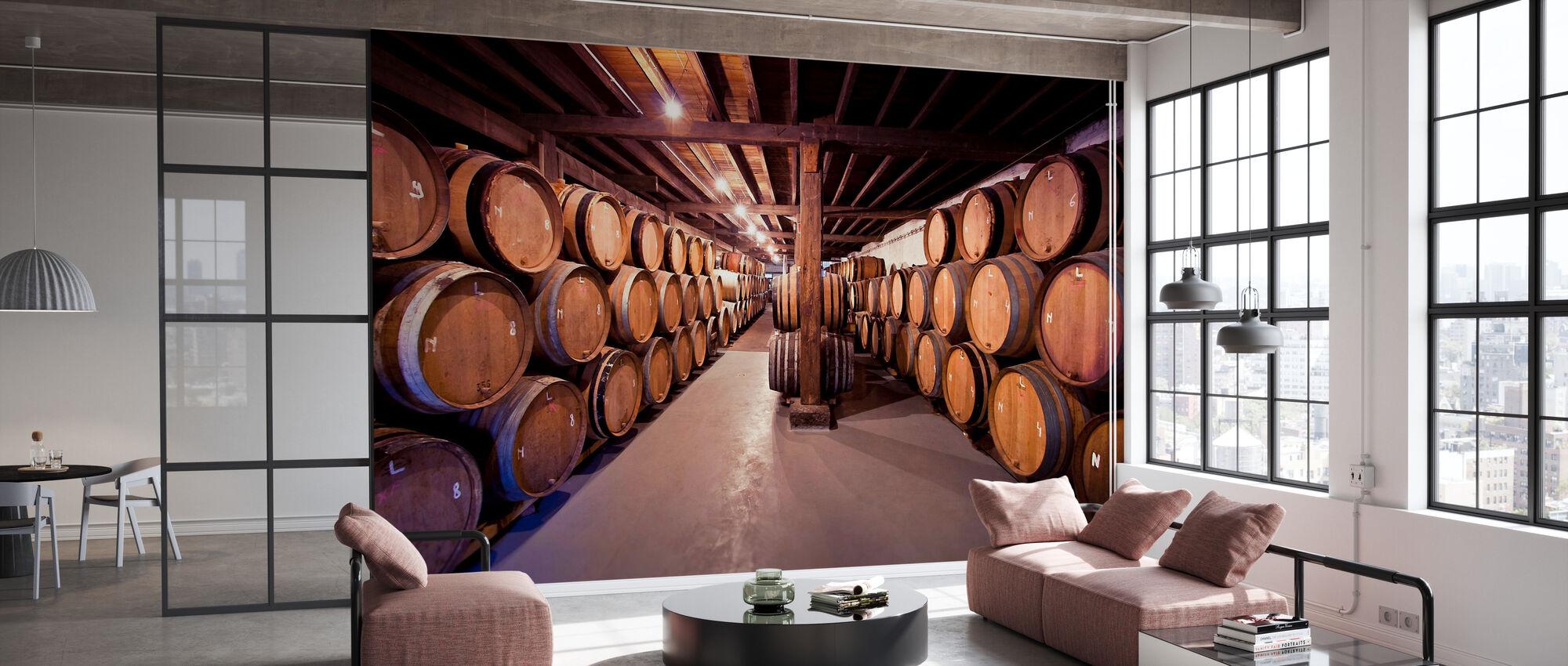 Alte Weinfässer - Tapete - Büro