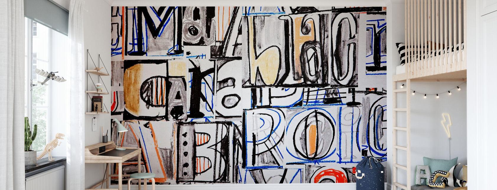 Funky Letter Graffiti - Wallpaper - Kids Room