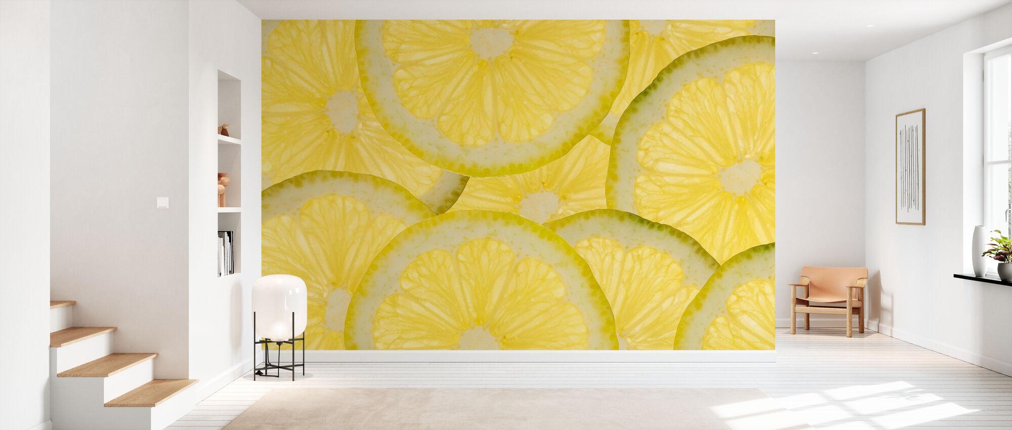 Citrons tranchés - Papier peint - Entrée