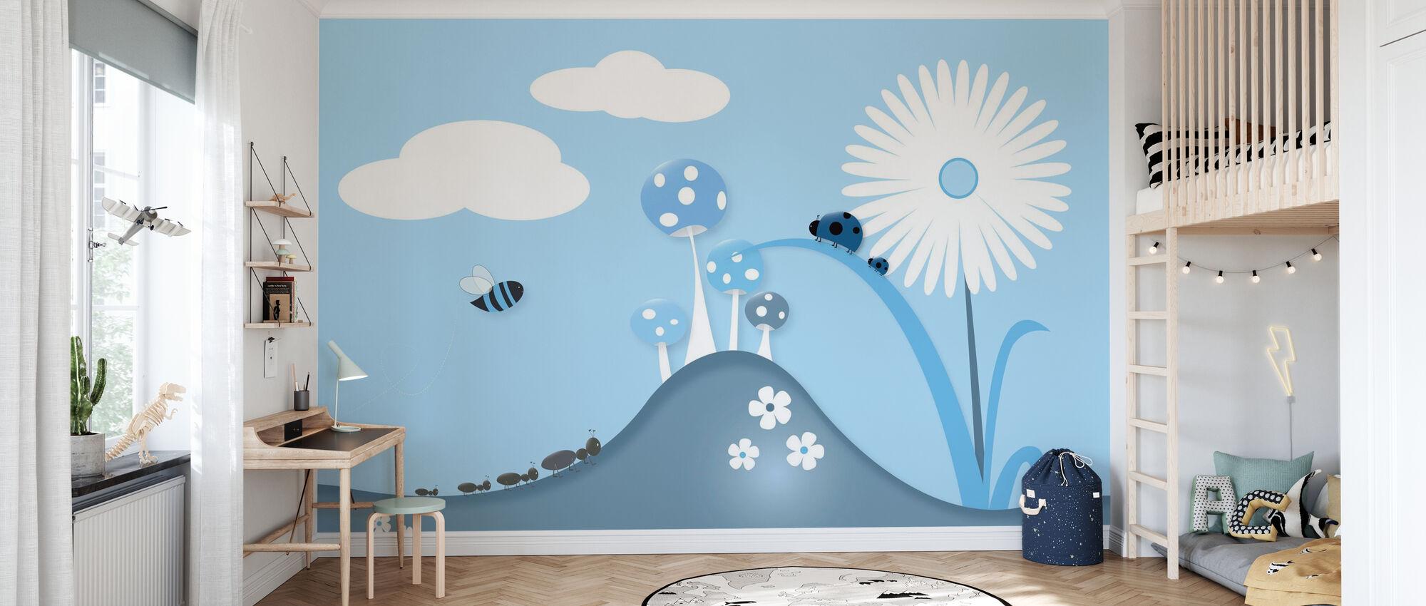 A Bugs World - Blue - Wallpaper - Kids Room