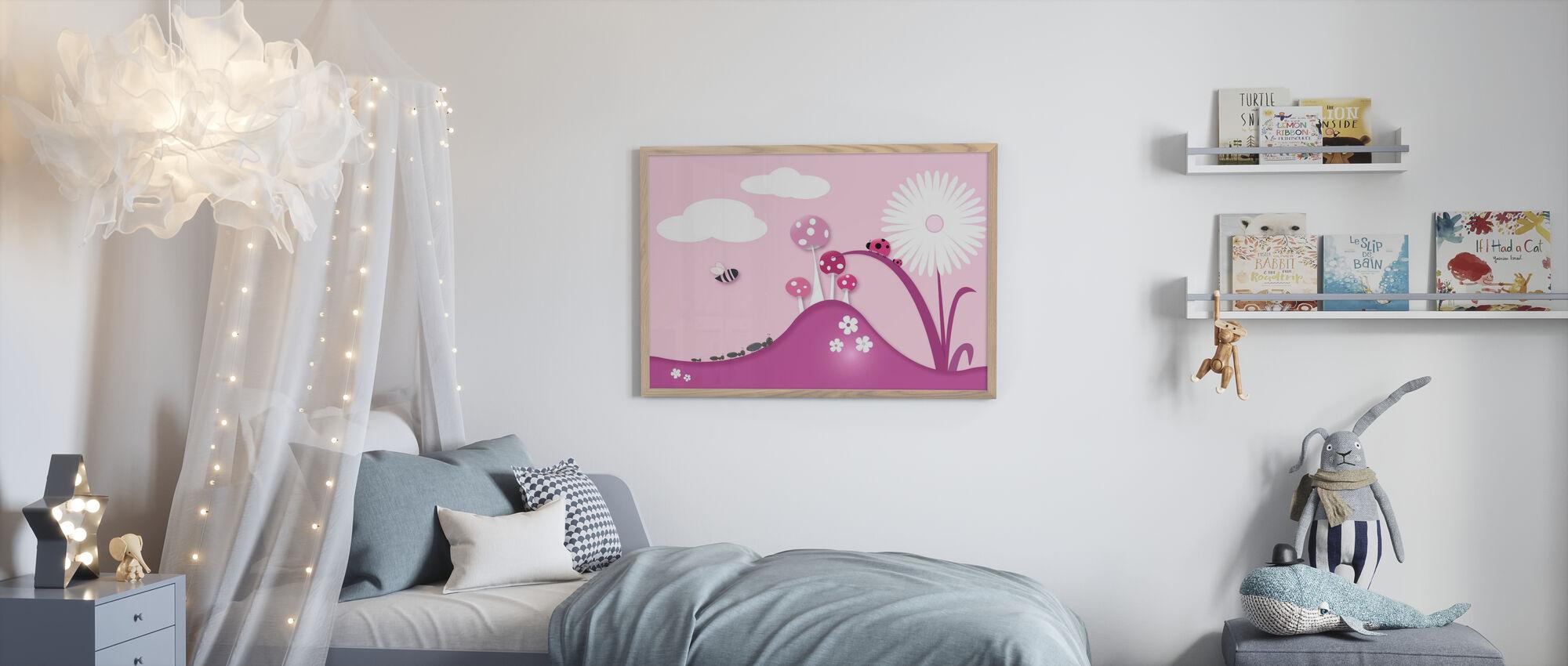 A Bugs World - Pink - Framed print - Kids Room