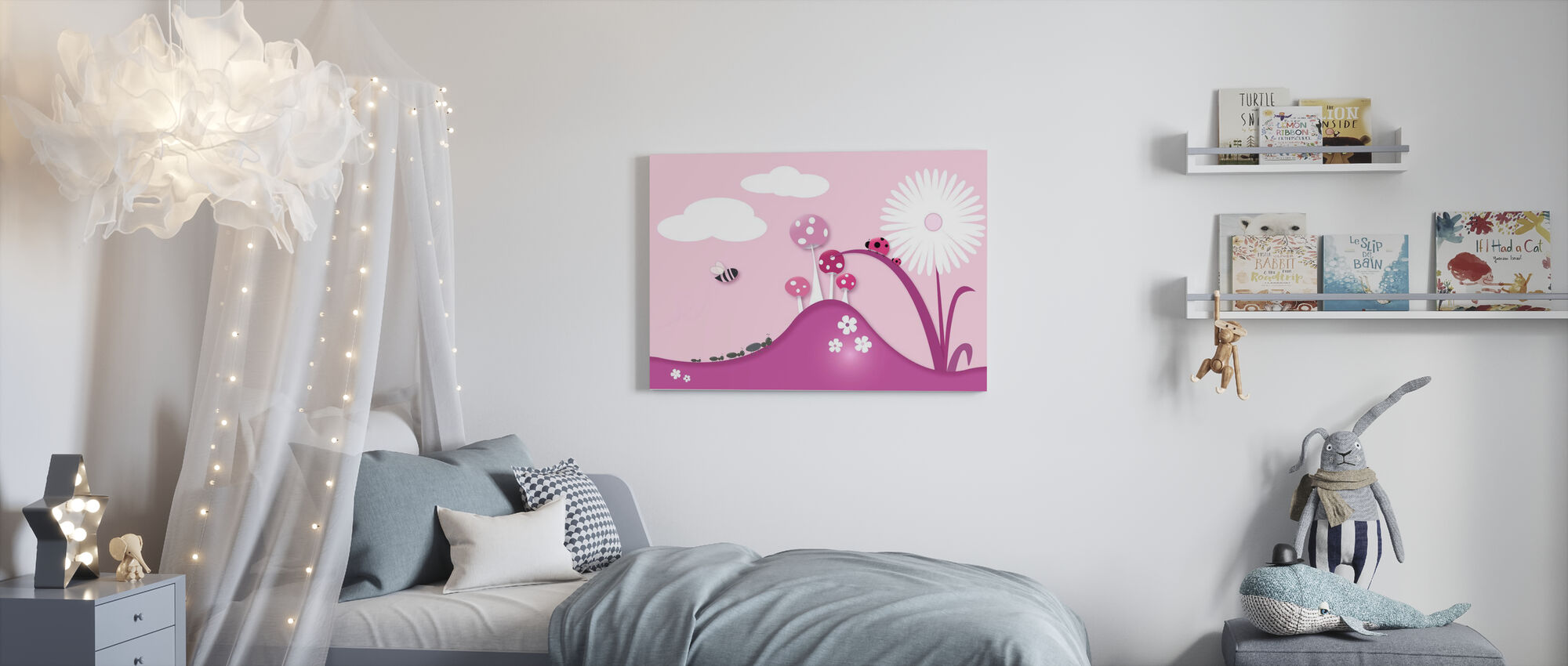 A Bugs World - Pink - Canvas print - Kids Room
