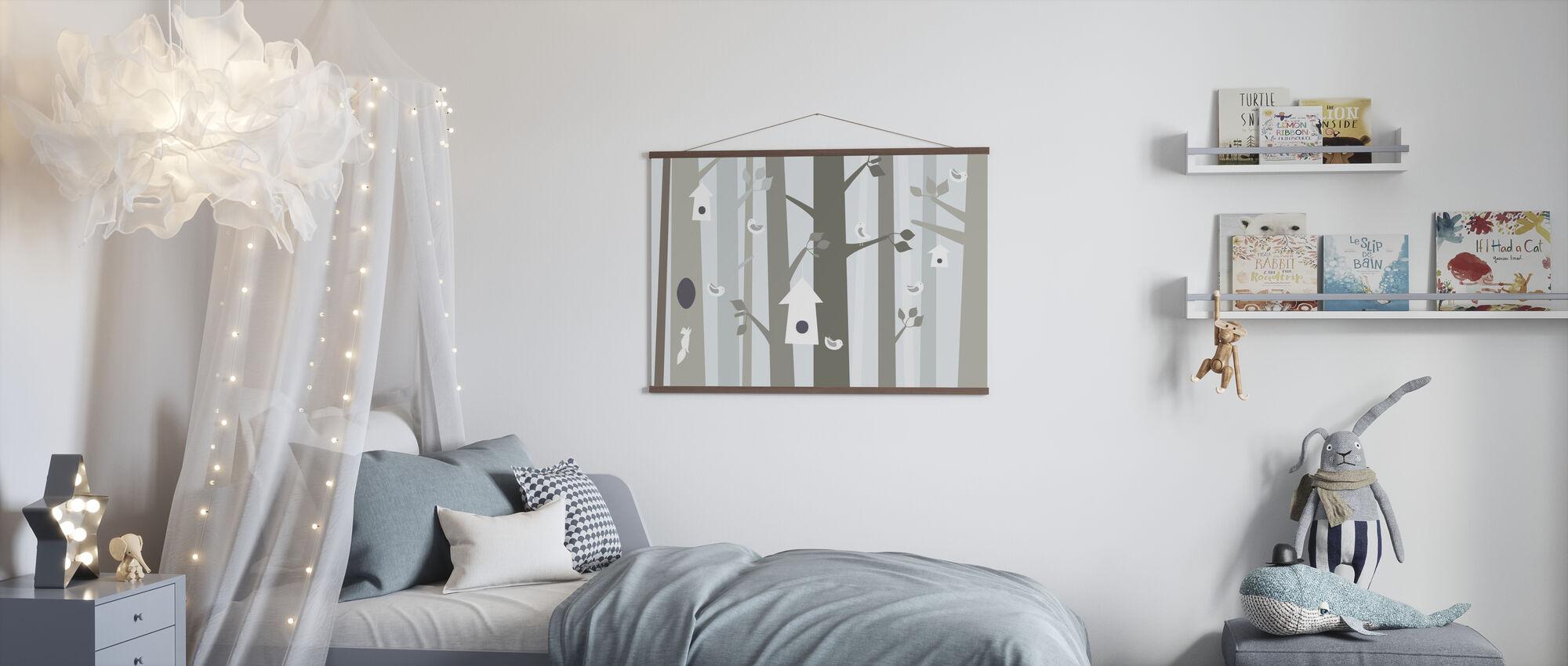Bird Forest - Beige - Poster - Kids Room