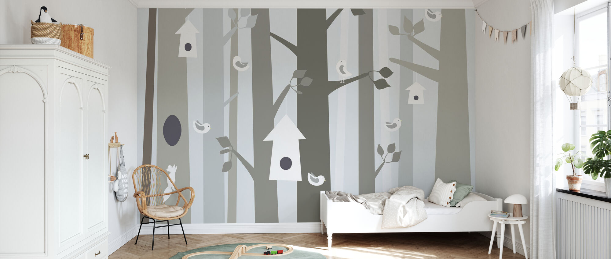 Bird Forest - Beige - Wallpaper - Kids Room