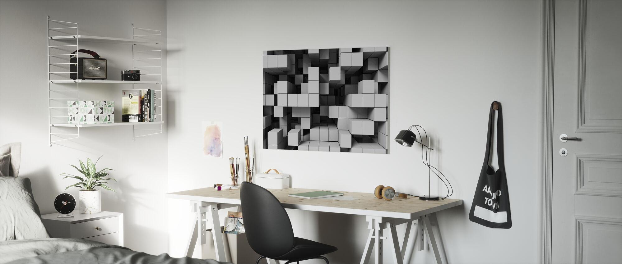 Deep Tetris - Hellgrau - Leinwandbild - Kinderzimmer