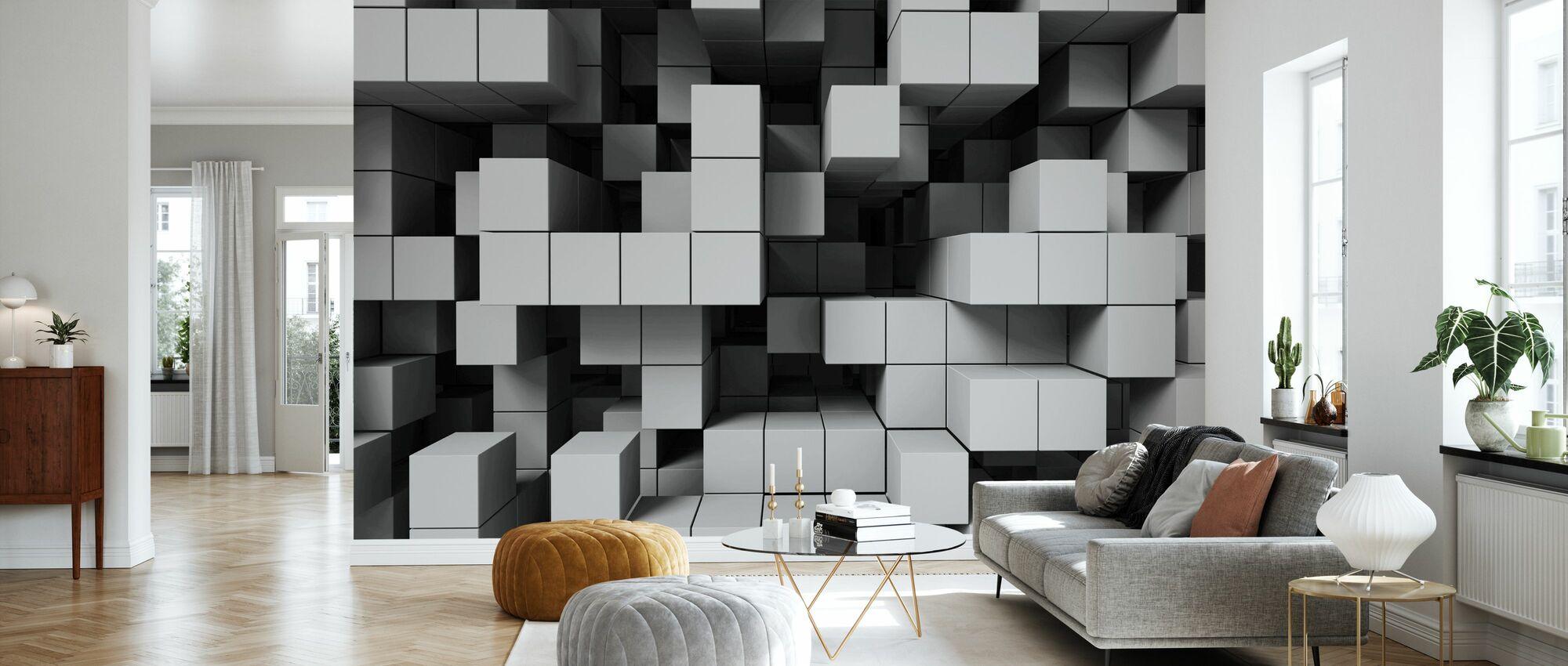 Deep Tetris - Ljusgrå - Tapet - Vardagsrum