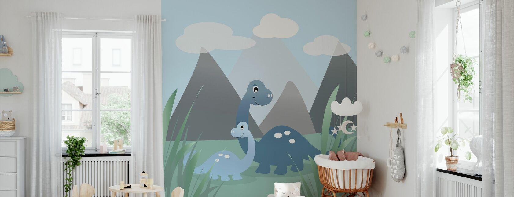 Dinoland - Blå - Tapet - Babyværelse