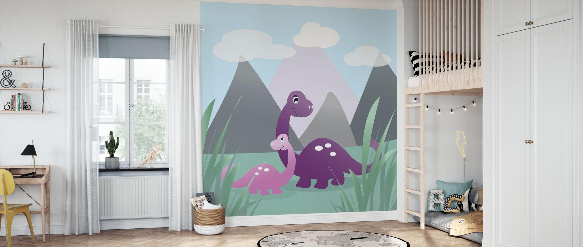 Dinoland - Purple - Wallpaper - Kids Room