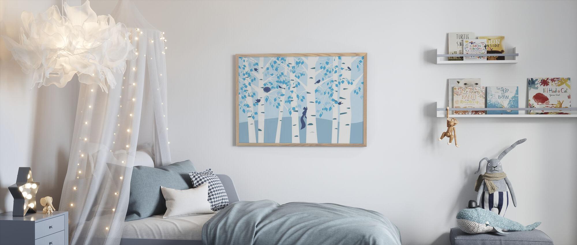 Berkenbos - Blauw - Ingelijste print - Kinderkamer