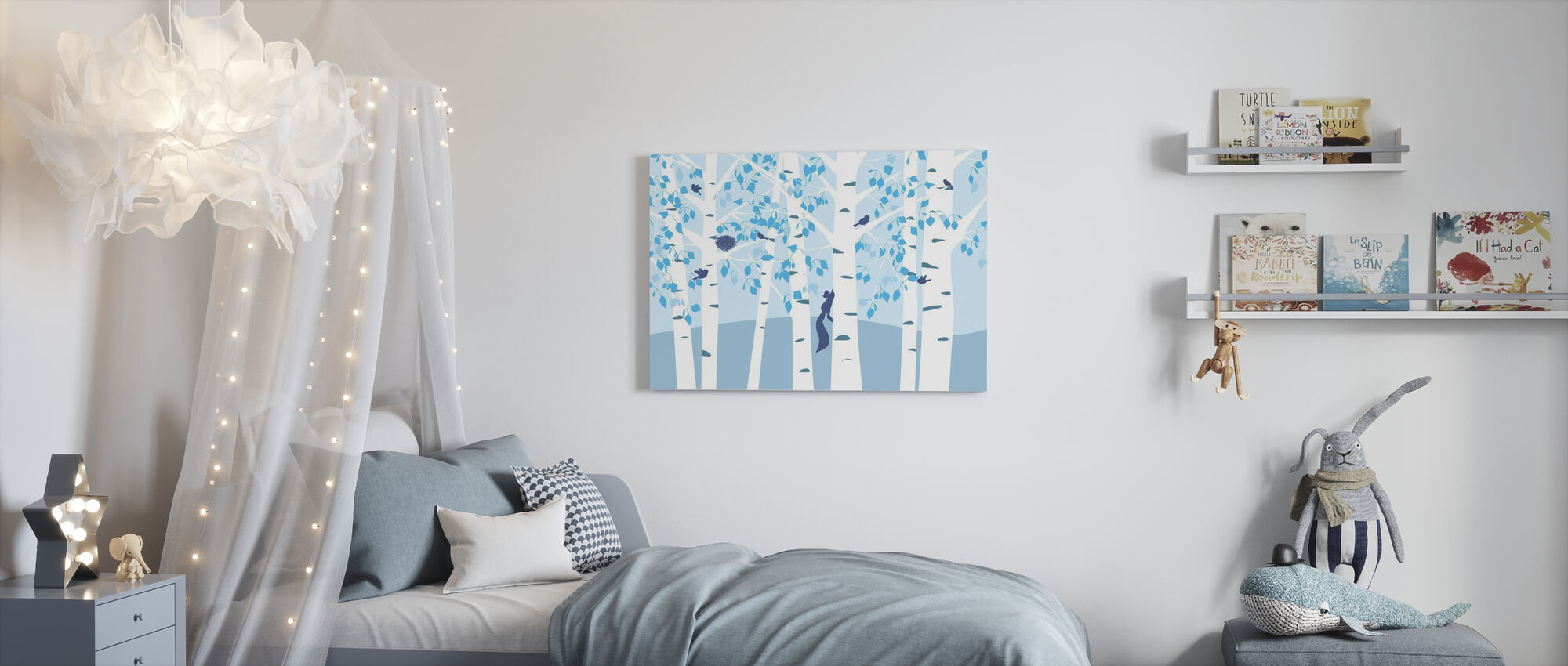 Birch Forest - Blue - Canvas print - Kids Room