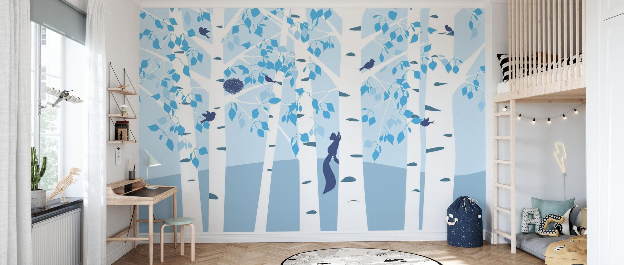 Birch Forest - Blue - Wallpaper - Kids Room