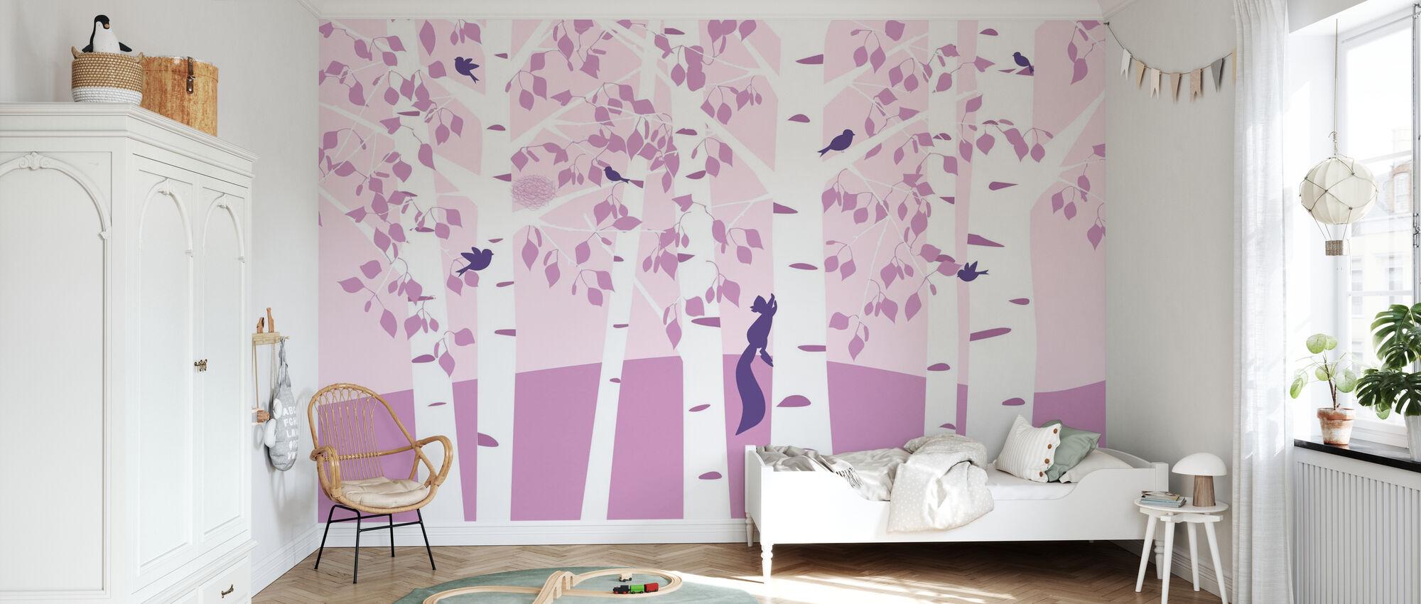 Birch Forest - Pink - Wallpaper - Kids Room