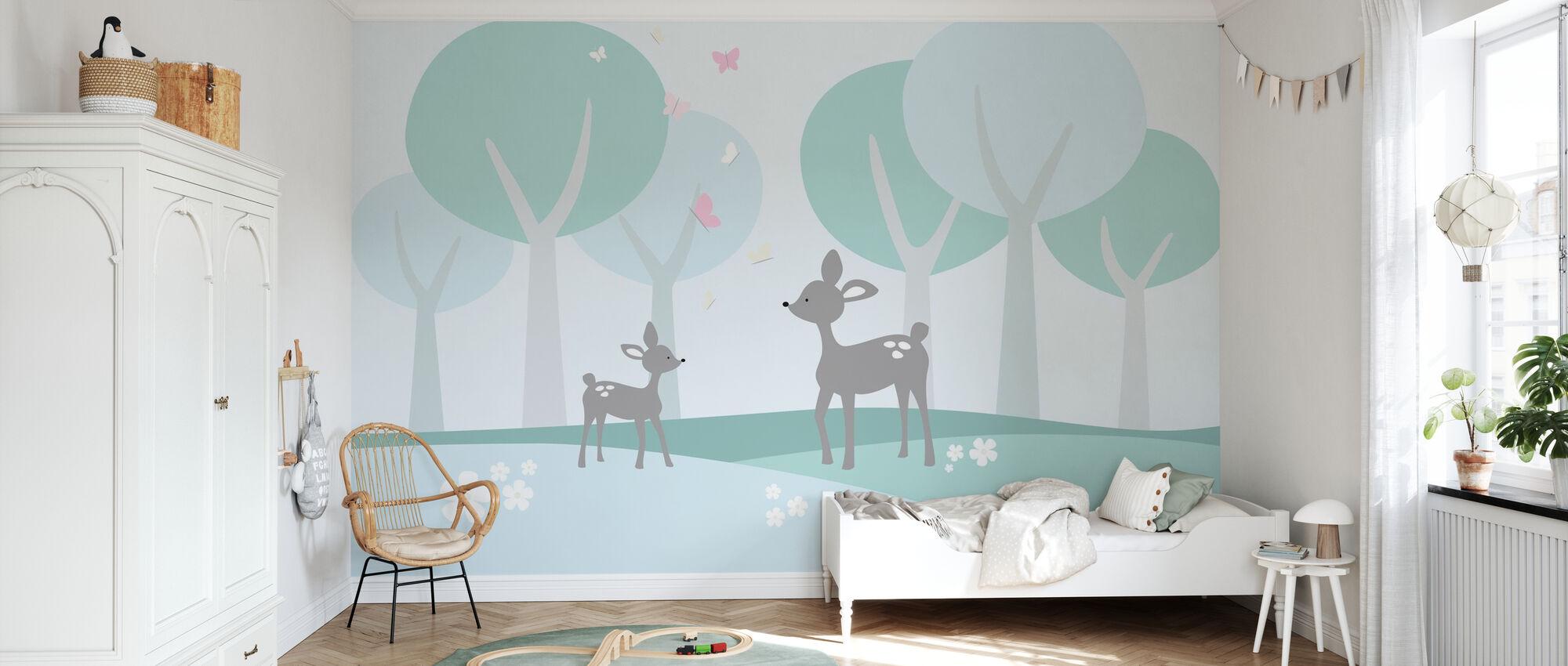 Deer in Woods - Wallpaper - Kids Room