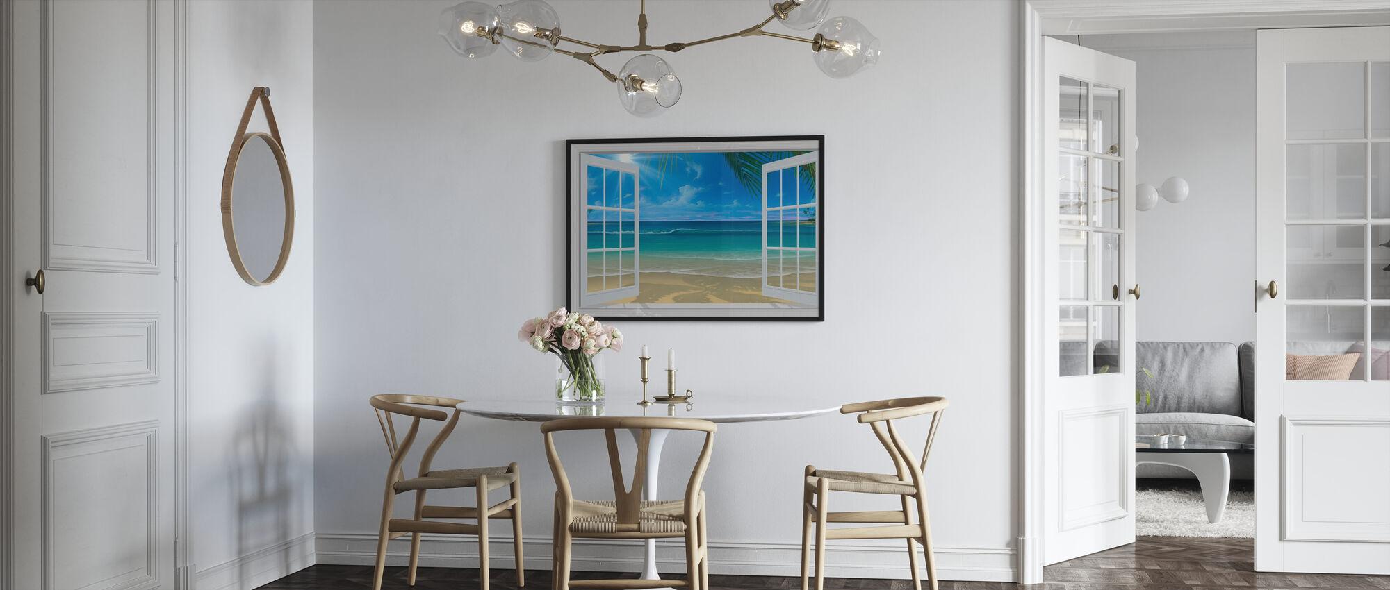 Solsken genom fönster - Inramad tavla - Kök