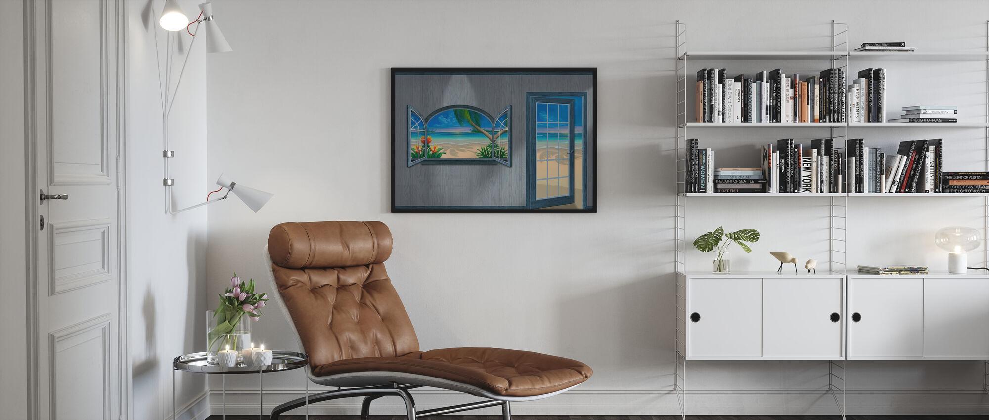 Utsikt över Paradise-Beachwood Grå - Inramad tavla - Vardagsrum