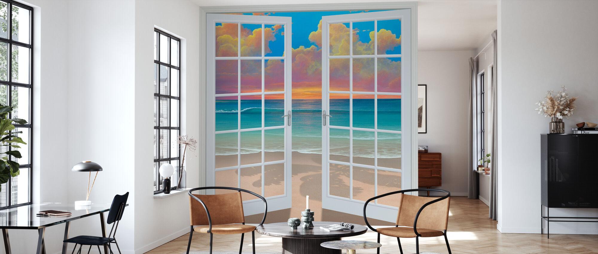 Solnedgång genom fönster - Tapet - Vardagsrum