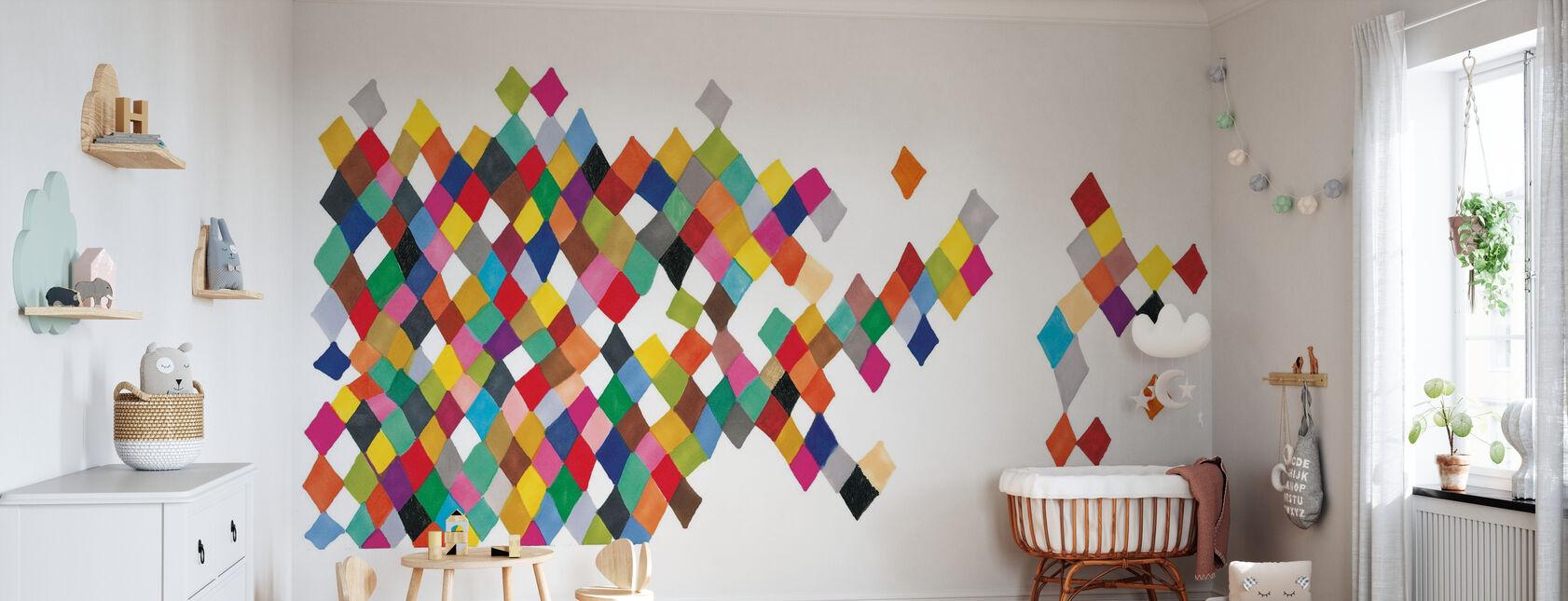Motley Harlekijn bonte dozen - Behang - Babykamer