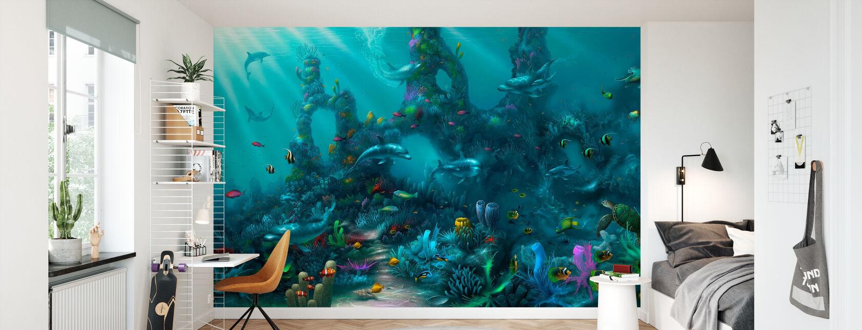 Dolphin paratiisi - Tapetti - Lastenhuone