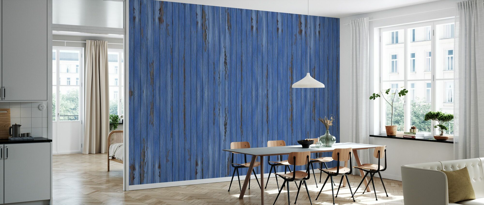 Blue Vintage Wood Wall - Wallpaper - Kitchen