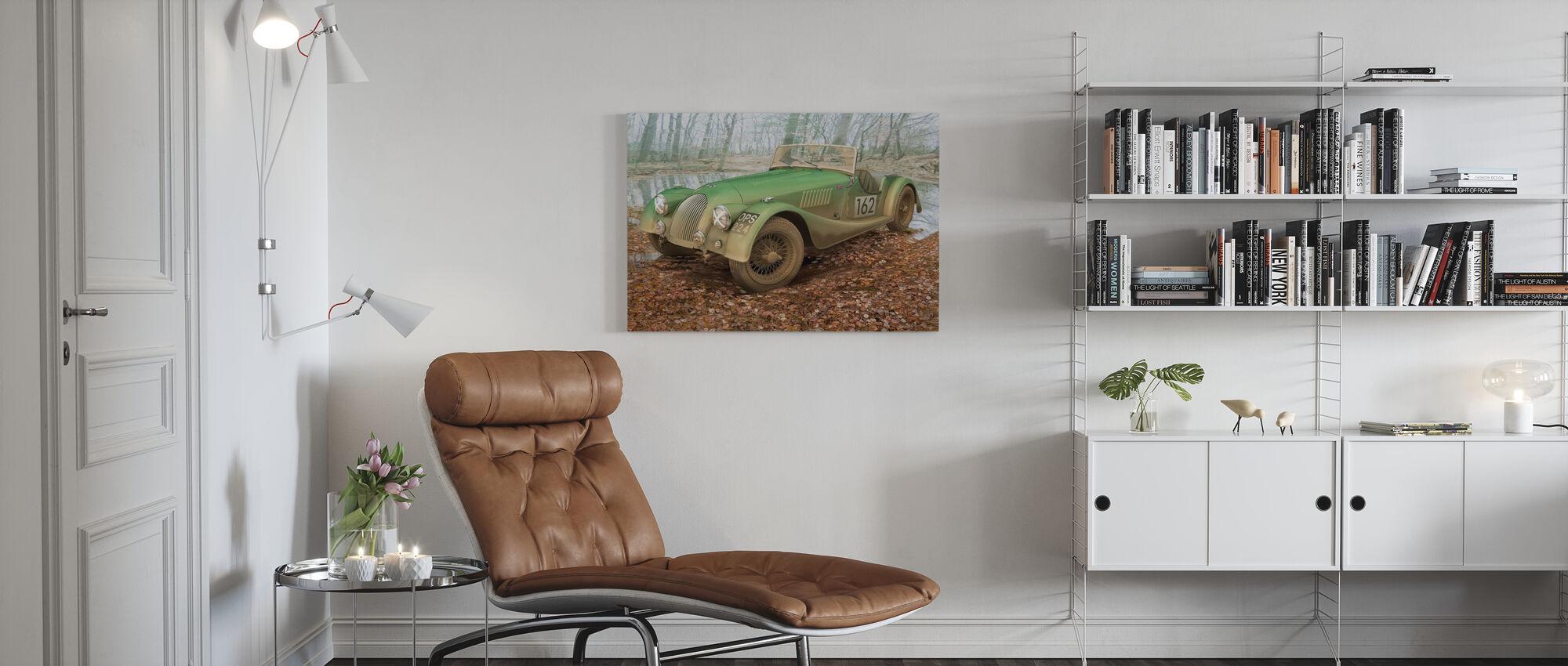 Britse sportwagen herfst - Canvas print - Woonkamer
