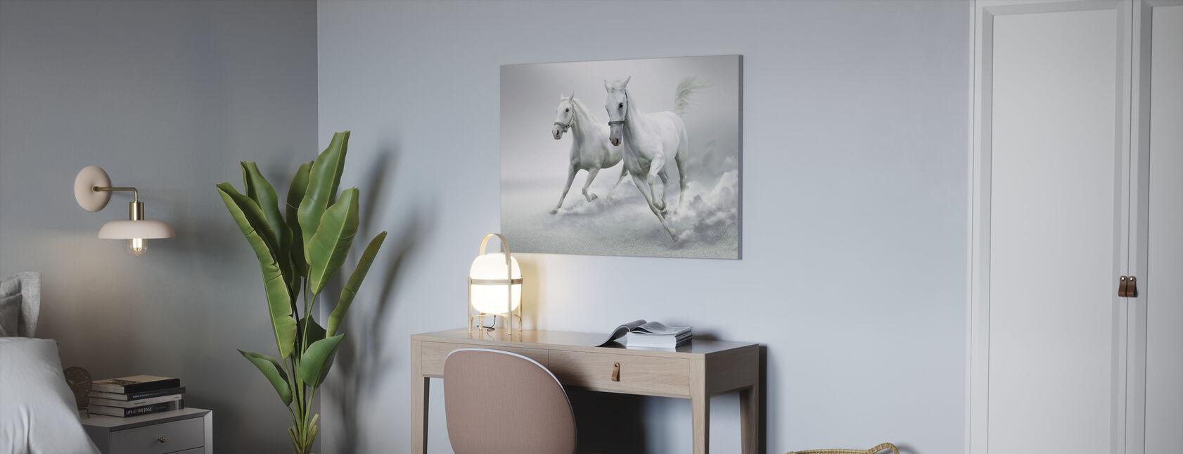 Weiße Pferde - Leinwandbild - Büro