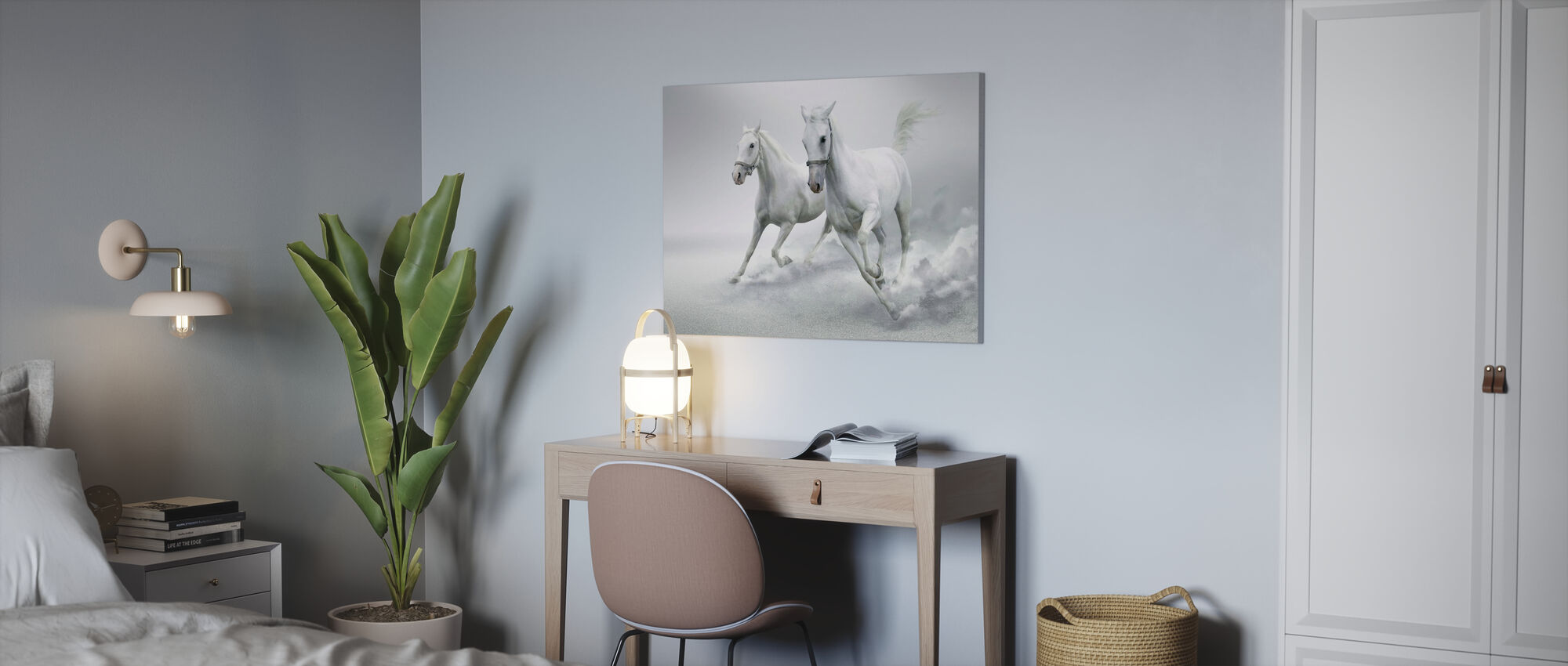 Hvide Heste - Billede på lærred - Kontor
