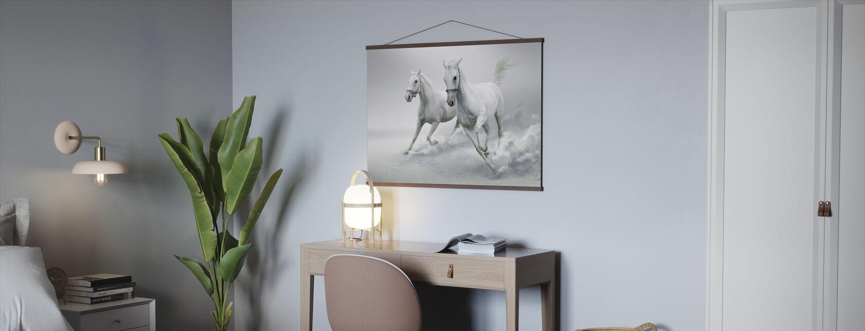Weiße Pferde - Poster - Büro