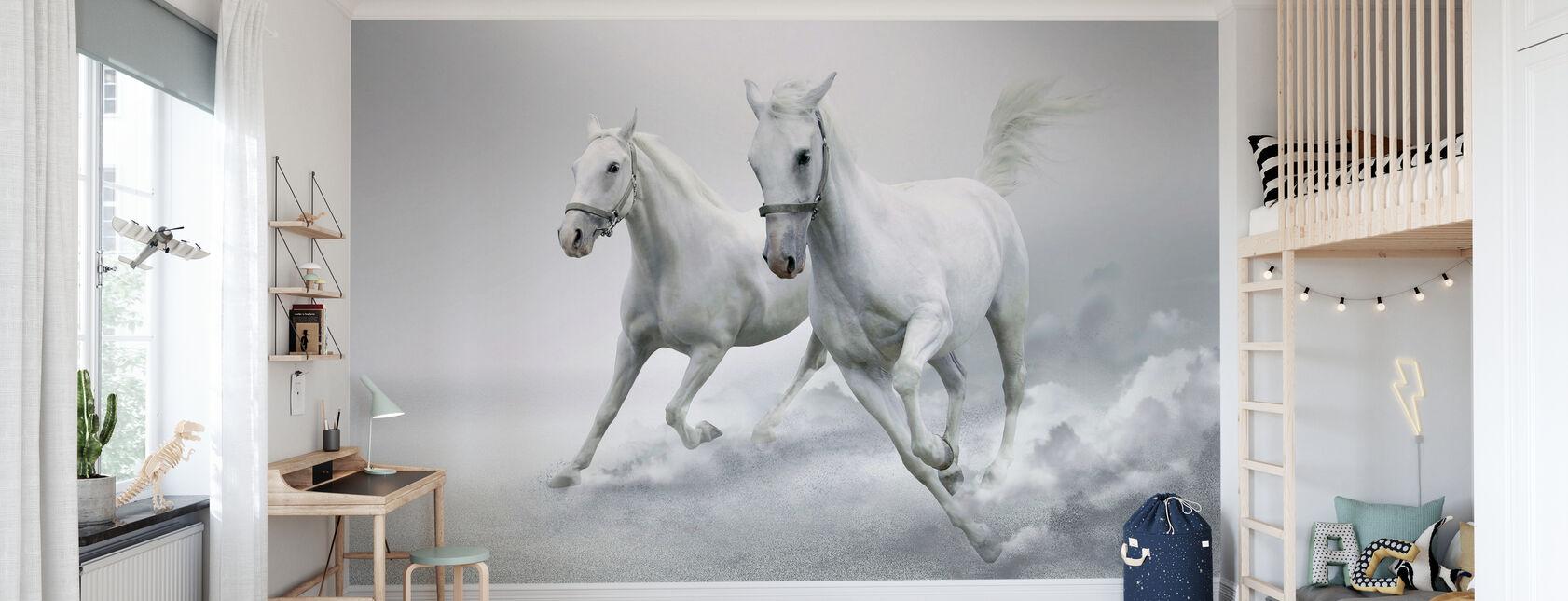 Vita Hästar - Tapet - Barnrum