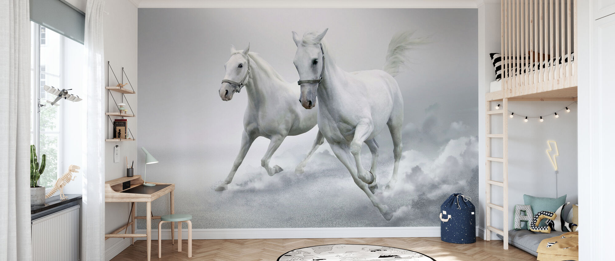 Weiße Pferde - Tapete - Kinderzimmer