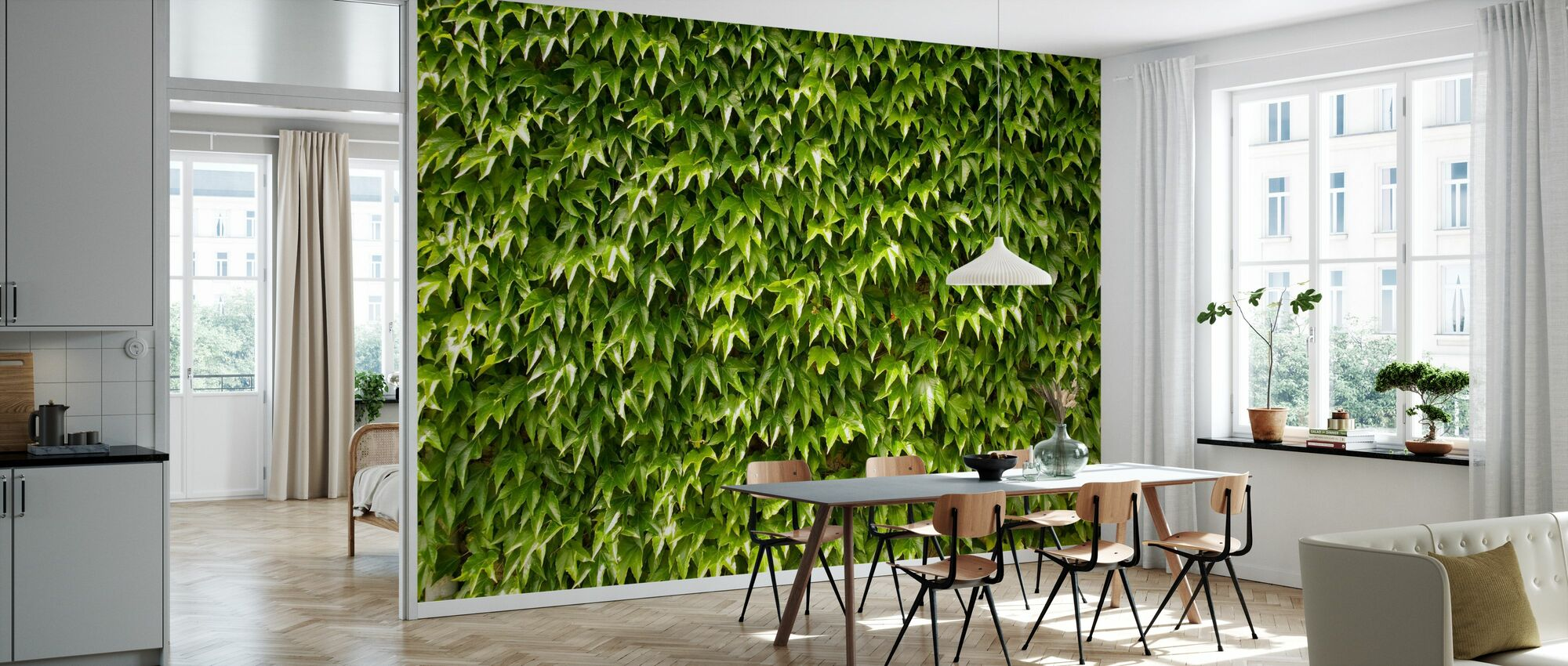 Green Wall of Ivy Leaves - Wallpaper - Kitchen