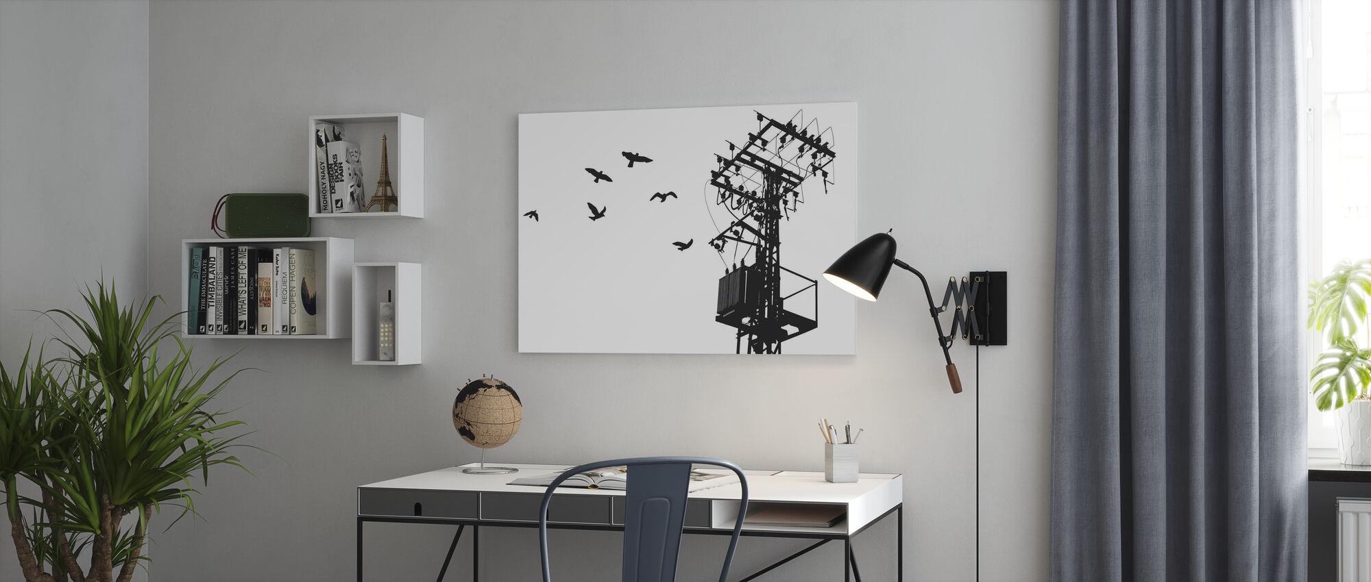 Powerline - Zwart en Wit - Canvas print - Kantoor